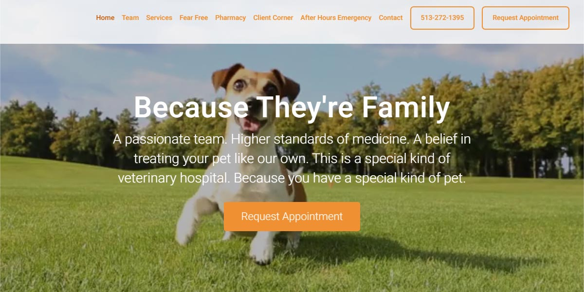 screenshot of the Red Bank Veterinary Hospital website
