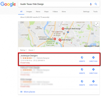 screenshot of the Local Pack in a Google search