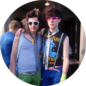 Two people dressed in the hipster style